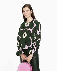 The pink, dark green and black Unikko pattern decorates the Nidos shirt, which is made of cotton with a hint of metal yarn to give the fabric a faint shine and firmness. The shirt has a small round neckline, a concealed zipper in the back seam and long pu Normal Body, Marimekko, Long Toes, Body Shapes, Ready To Wear, Blouse, Fabric, Pink, Cotton