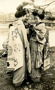 """Three Maiko Girls with a Camera"", Japan c. 1920s."