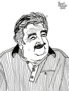 """José ""Pepe"" Mujica"", ink on paper, 21 x 29,7 cm ....... ホセ・ペペ・ムヒカ Portraits, Fine Art, Illustration, Head Shots, Illustrations, Portrait Photography, Visual Arts, Portrait Paintings, Headshot Photography"