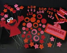 Girls Elmo inspired Fondant Cake Toppers Complete by 1STOPPARTY