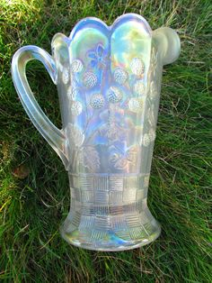 Raspberry Water Pitcher White Carnival Glass Super Scarce | eBay