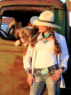 ~ Lakota Leather Concho Belt with turquoise buckle.  Again, some women love diamonds, some love pearls.  Turquoise is versatile, can be worn with both casual wear and dressier outfits.  It's the stone that works for me. ~