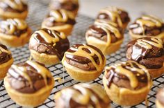 Caramel brownie bites, with hidden caramel and pecans.  These look so good!
