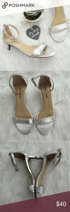"""Scalloped Ankle Strap Kitten Heel Sandal 7M NWOB New without box - tried on only. Clearance price written on bottom sole. Otherwise excellent new condition. Feminine and fun! Leather upper. 1 3/4"""" heel.   Bundle for best deals! Hundreds of items available for discounted bundles! Bundle offers welcome.   Follow on IG: @the.junk.drawer Talbots Shoes Sandals"""