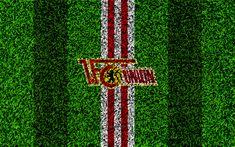 Download wallpapers Union Berlin FC, 4k, german football club, football lawn, logo, emblem, white red lines, Bundesliga 2, Berlin, Germany, football, grass texture
