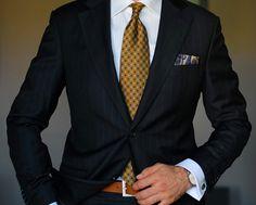 Ravelli french cuff shirt + dark blue Loro Piana suit + ENASONI pocket-square