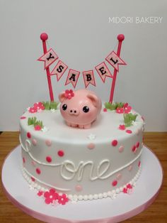 Pink Pig custom Cake for a special first birthday by Midori Bakery
