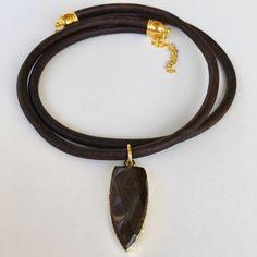 www.vashtijewelry.com #smokyquartz #leather
