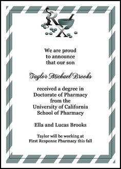 save with your 10 free Rx pharmacist graduation ceremony invitations and pharmacy Rx graduate commencement announcements with lots more discounts and special promos at InvitationsByU, this card number 7585IBU-LM with saving as low as 79¢
