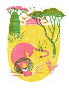 Savannah screen-print by Essi Essi Kimpimäki