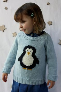 A few years ago I designed a Christmas jumper featuring a reindeer for my then toddler son, now he has a toddler sister and it's time to design a Christmas jumper for her. Penguins are one of my favourite Christmas motifs, so it seemed obvious to include one on a jumper.The Waddle jumper is knitted in pieces from the bottom up; the neckline is knitted on in the round after seaming the shoulders of the jumper. The penguin motif is added using the intarsia technique.The pattern for the inta...
