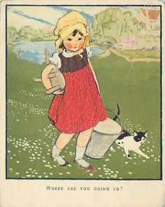 WHERE ARE YOU GOING TO? young girl carries milking pail and stool, black and white cat right, grassy fields Children's Book Illustration, Watercolor Illustration, Nostalgic Art, Cottage Art, Vintage Children's Books, Cute Images, Vintage Pictures, Animals For Kids, Illustrations Posters