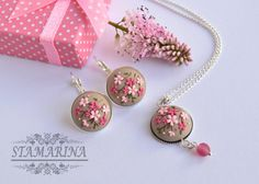 Pink Floral Necklace SetFlower Earrings Pendant by Stamarina