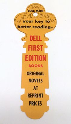 VINTAGE DELL FIRST EDITION BOOKS KEY BOOKMARK