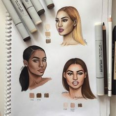 Faces practice ✨ I used COPICS & PROMARKERS (shades are written on the pic) along with FABER CASTELL burnt umber colored pencils, hope it helps and please don't ask what pencils I used before reading the caption 😂 Black Girl Art, Black Women Art, Art Girl, Fashion Model Drawing, Fashion Sketches, Fashion Sketchbook, Fashion Illustrations, Cute Drawings, Drawing Sketches