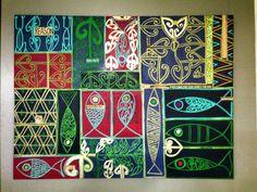 Idea for printing Maori Designs, Atelier D Art, New Zealand Art, Jr Art, Maori Art, Kiwiana, Plant Art, Fish Art, Painting For Kids