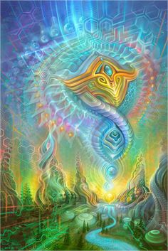 Spirit Rising by Fabian Jimenez and Simon Haiduk - Threyda Art and Apparel Art Visionnaire, Psy Art, Mystique, Art Graphique, Visionary Art, Psychedelic Art, Psychedelic Experience, Stretched Canvas Prints, Fractal Art
