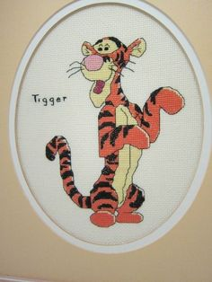Tigger Counted Cross Stitch Finished No Glass Washed Wood Frame 14 X 12 inches