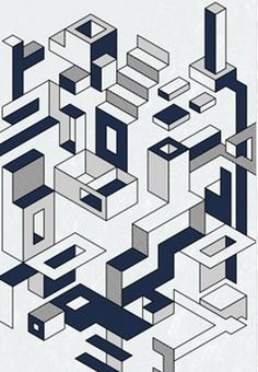 BUILDING BLOCKS Bauhaus-style graphics meet with the modern world / Linear outlines / Bold, blocky approach / Dimensional structures interlock / Exploded architectural drawings / From fine lines to bold 3-D blocks, this theme will work for placements and repeats