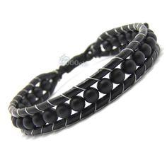 Bracelet homme/femme style shamballa cuir véritable perles ø 6mm pierre naturelle agate onyx  mat noir