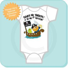 Personalized Pirate First Birthday Shirt or by ThingsVerySpecial