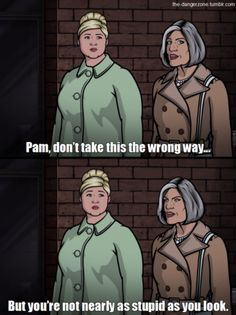 You better call Kenny Loggins, because you're in the danger zone. Archer Tv Show, Archer Fx, Archer Funny, Archer Quotes, Funny Cute, Hilarious, Sterling Archer, Comebacks And Insults, Danger Zone