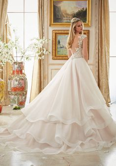 Wedding Dress 2895 Vintage Embroidery Trimmed with Crystal Moonstone Beading on Tiered Organza Ball Gown