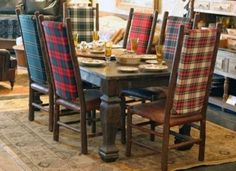 Cover chairs with tartan.... Eye For Design: Plaid.....Decorate Menswear Style