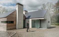 One-off house design. Highly Commended in RIAI House of the Year Architect based in Cork city. House Designs Ireland, Cool House Designs, Bungalow House Design, Modern House Design, Passive House Design, Beautiful Modern Homes, Arch House, Rural House, Modern Farmhouse Exterior