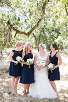 Mix and match navy blue lace-chiffon bridesmaid dresses.