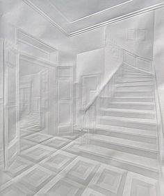 Some people paint, others do origami. What Simon Schubert does, might best be called 'something right between the two'. The German artist folds and unfolds paper until a 'ghost image' appears. His recent work includes a collection of more than 100 pictures resembling different views on the interior of a villa. AMAZING