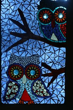 """""""Two Owls"""" Glass on glass mosaic panel"""