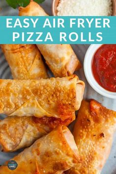 Make your own Air Fryer Pizza Rolls at home! Baked, not fried, these pizza rolls in the air fryer are ready in 8 minutes and can be frozen for quick snacks. Air Fryer Oven Recipes, Air Frier Recipes, Air Fryer Dinner Recipes, Appetizer Recipes, Yummy Appetizers, Snack Recipes, Homemade Pizza Rolls, Taco Pizza Rolls, Snacks Homemade