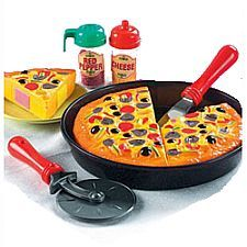 Product description This eleven-piece pretend food set includes pizza slices, spatula, pizza cutter, cheese shaker, red pepper shaker and deep dish pan. Little Girl Toys, Toys For Girls, Kids Toys, Baby Girl Toys, Toys R Us, Baby Baby, Cooking Toys, Cheese Stuffed Peppers, Love Pizza