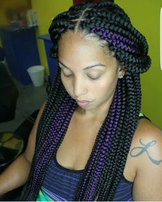 Love the purple. Beautiful Braids, Gorgeous Hair, Nigerian Braids Hairstyles, Twist Box Braids, Twists, Extensions, Protective Hairstyles, Protective Styles, Feed In Braid