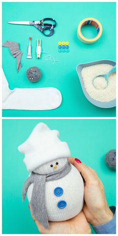 How To Make No-Sew Sock Snowman Oh my gosh i made 4 of these and they turned out great! Should you absolutely love arts and crafts an individual will really like our info! Snowman Crafts, Christmas Projects, Crafts To Do, Holiday Crafts, Holiday Fun, Crafts For Kids, Sock Snowman Craft, Sock Crafts, Navidad Diy
