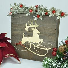 Reindeer Flourish Home Decor created using Quitefire Design digital cutting files.  GORGEOUS!!