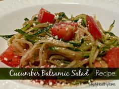 Balsamic Cucumber Salad  w/ balsamic dressing: 3 cucumber spiral; 2 chopped tomatoes, dressing and parmesan cheese:  Dressing Ingredients:       ⅓ cup balsamic vinegar     2 tbsp. water     ⅔ cup olive oil     ¼ tsp. black-strap molasses     1 tsp. garlic powder     1 tsp. oregano     1 tsp. sea salt     ½ tsp. black pepper (Omit for AIP)