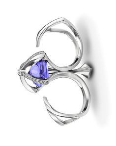 Alexander Davis |  Diadem Double Finger Ring in Platinum, set with an Inverted 10ct. Tanzanite and Diamonds.