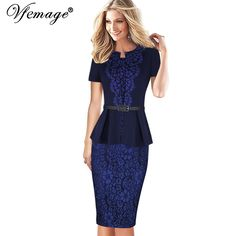 Best Product Vfemage Womens Elegant Floral Lace Pleated Peplum Tunic Vintage Slim Wear to Work Casual Party Fitted Sheath Pencil Dress 2990  very best -