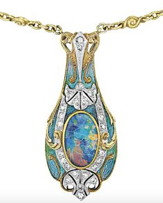 """ephemeral-elegance: """" Enamel and Opal Pendant Necklace, ca. 1900 Tiffany & Co. Philips Auction via Diamonds in the Library """""""