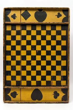 Antique gameboard in black and mustard original paint, New England, ca.1900. Double-sided board features checkers (shown above) and Parcheesi | Folk Art