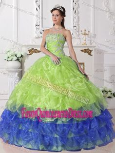 59556eac47 Colorful Sweet Sixteen Dresses with Appliques Strapless Organza