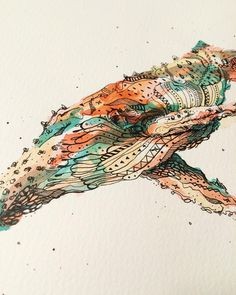 Here is a new whale! I love the colors on this one. It reminds of the big… Time In Korea, Deviantart Drawings, Whale Art, Sketchbook Drawings, Watercolor Design, Drawing Art, Great Artists, Watercolors, Illustrators