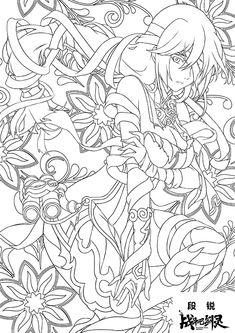 牧童的短笛的分享 - UCHOR.COM Angel Coloring Pages, People Coloring Pages, Cute Coloring Pages, Printable Coloring Pages, Adult Coloring Pages, Coloring Books, Gothic Anime Girl, Body Reference Drawing, Art Sketchbook