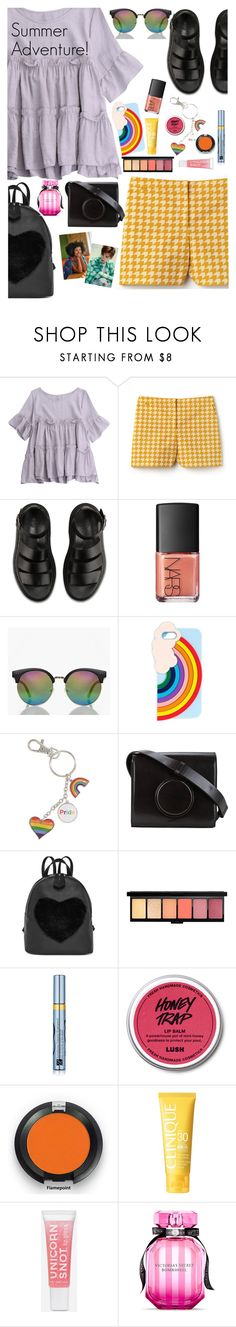 """Where will the day take you?"" by elliewriter ❤ liked on Polyvore featuring Lacoste, Dr. Martens, NARS Cosmetics, Boohoo, Miss Selfridge, Lemaire, Estée Lauder, Clinique and Victoria's Secret"
