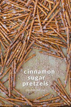 Cinnamon Sugar Pretzel Sticks Sweet and salty is a classic combination. These Cinnamon Sugar Pretzels sticks combine the flavors you love with an easy to make snack. Cinnamon Sugar Pretzels, Rolo Pretzels, Pretzels Recipe, Cinnamon Pretzel Sticks Recipe, Pretzel Seasoning Recipes, Christmas Pretzels, Christmas Snacks, Christmas Baking, Holiday Baking