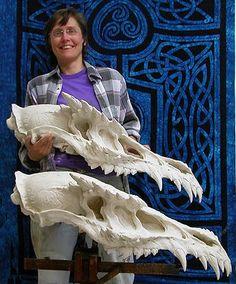 Dragon skull sculpture.