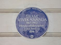 Swami Vivekananda, Hindu philosopher, blue plaque, St George's Drive SW1, Pimlico, London.