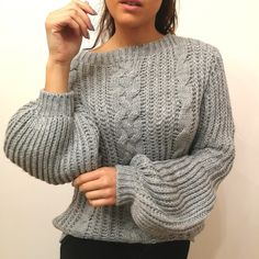 Pull Calinou gris Pull Grosse Maille, Pullover, Sweaters, Fashion, Chunky Knits, Tops, Moda, Fashion Styles, Sweater